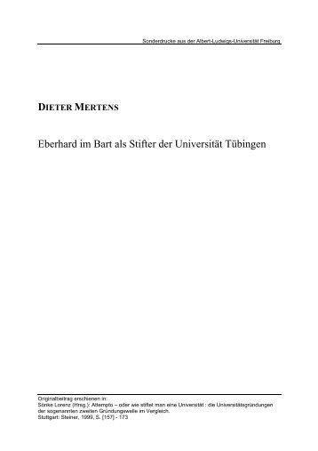Eberhard im Bart als Stifter der Universität Tübingen - FreiDok