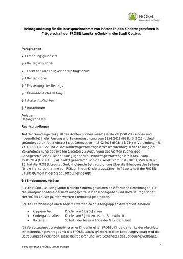 Beitragsordnung der Stadt Cottbus - FRÖBEL-Gruppe