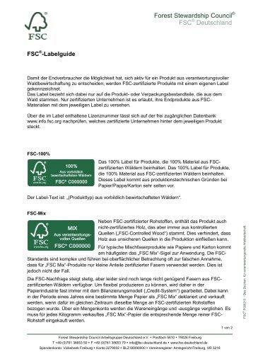 bei FSC grundsätzlich nur die Rohstoffherkunft ... - FSC-Deutschland