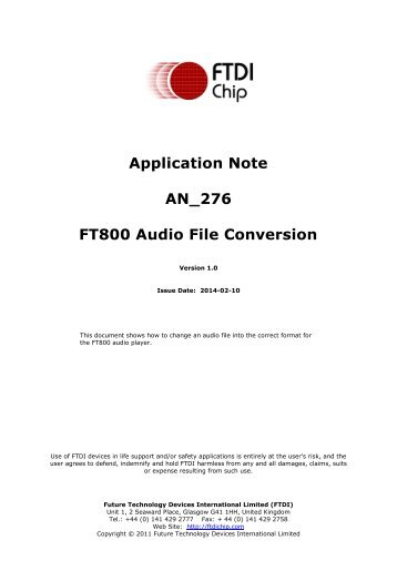 Application Note AN_276 FT800 Audio File Conversion - FTDI
