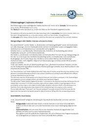 Erläuterungsbogen / Explanatory Information - Freie Universität Berlin