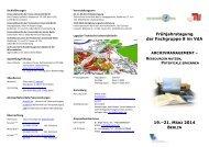 Frühjahrstagung der Fachgruppe 8 im VdA 19.–21. MÄRZ 2014