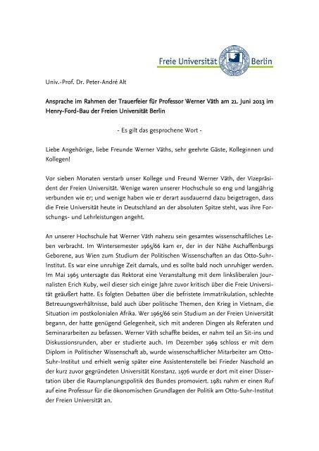 Ansprache im Rahmen der Trauerfeier für Professor Werner Väth