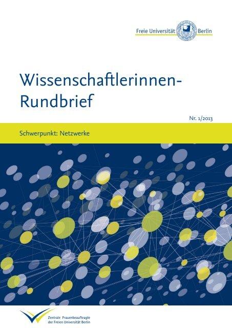 Wissenschaftlerinnen-Rundbrief 01/2013 mit dem Schwerpunkt