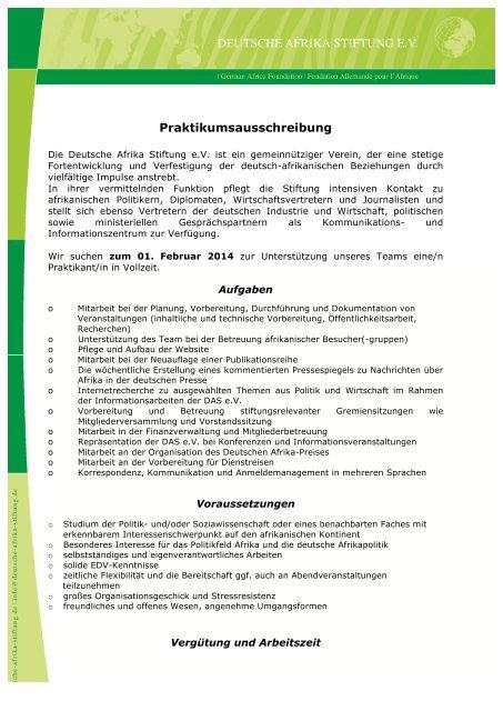 Deutsche Afrika Stiftung e.V. - Diverses