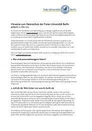 Hinweise zum Datenschutz der Freien Universität Berlin