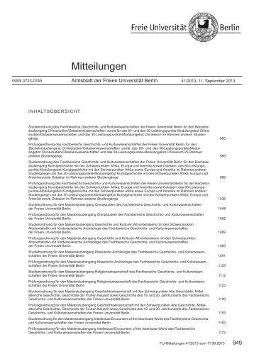 und Prüfungsordnung - Freie Universität Berlin