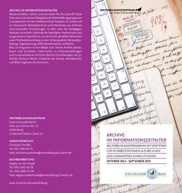 ARChive im infoRmAtionszeitAlteR - Freie Universität Berlin