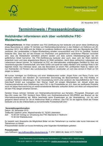 Terminhinweis / Presseankündigung - FSC-Deutschland