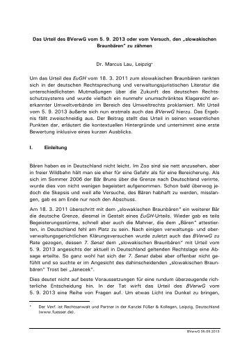 Das Urteil des BVerwG vom 5. 9. 2013 oder vom Versuch, den ...