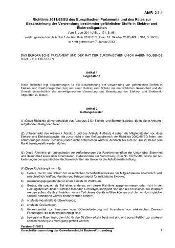 Richtlinie 2011/65/EU des Europäischen ... - Gewerbeaufsicht