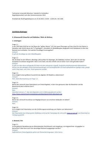 Rückfragen - Fakultät für Architektur - Technische Universität München
