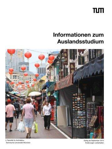 Informationen zum Auslandsstudium - Fakultät für Architektur - TUM