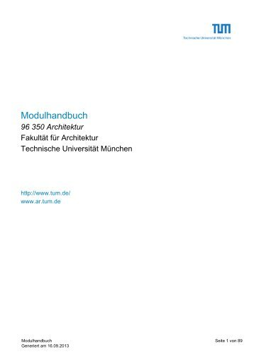 Modulhandbuch - Fakultät für Architektur - Technische Universität ...
