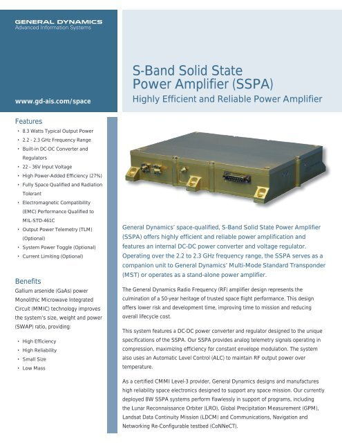 S-Band Solid State Power Amplifier (SSPA) - General Dynamics