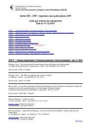 Veille CPP liste par indices de classement - Etat de Genève