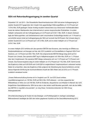 2013.07.30. GEA mit Rekordauftragseingang im ... - GEA Group