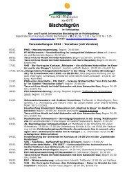 Veranstaltungen mit Vereine 2014 - Gemeinde Bischofsgrün