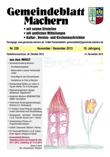 Amtsblatt Nr. 228 November 2013 - Gemeinde Machern