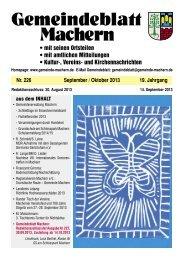 Amtsblatt Nr. 226 September 2013 - Gemeinde Machern