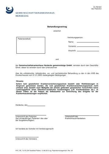behandlungsvertrag 2014 gemeinschaftskrankenhaus herdecke - Behandlungsvertrag Muster