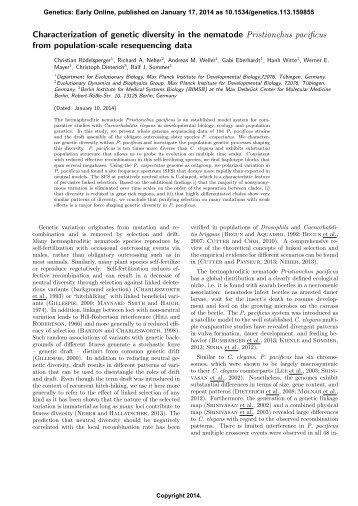 Characterization of genetic diversity in the nematode ... - Genetics