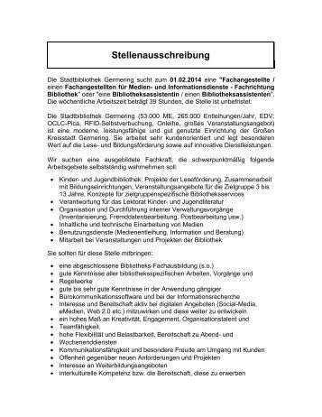 Stellenausschreibung - Stadt Germering