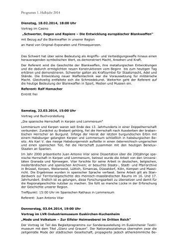 Programm 1. Halbjahr 2014