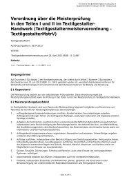 Verordnung über die Meisterprüfung in den Teilen I und II im ...