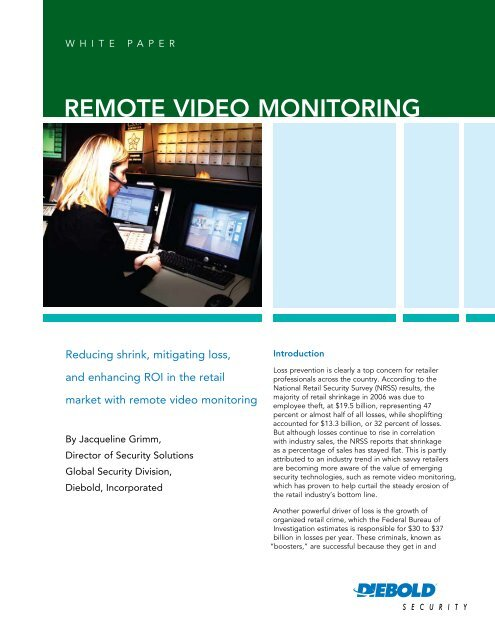 Remote Video Monitoring White Paper - Diebold