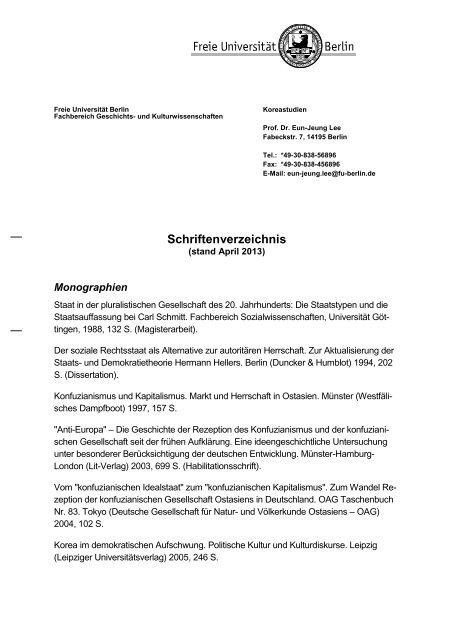 Schriftenverzeichnis - Fachbereich Geschichts - Freie Universität ...