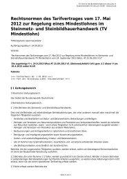Rechtsnormen des Tarifvertrages vom 17. Mai 2012 zur Regelung ...