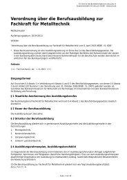Verordnung über die Berufsausbildung zur Fachkraft für Metalltechnik