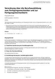 Verordnung über die Berufsausbildung zum Fertigungsmechaniker ...