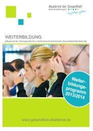 Weiterbildungskatalog 2013/2014 - Akademie der Gesundheit Berlin ...