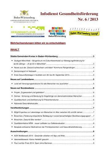 Infodienst Gesundheitsförderung Nr. 6/2013 (PDF; 187 KB)