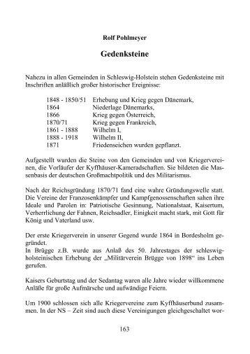 Gedenksteine - Geschichtsverein für das ehemalige Amt Bordesholm