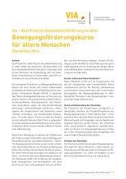 Checkliste Bewegungsförderung - Gesundheitsförderung Schweiz