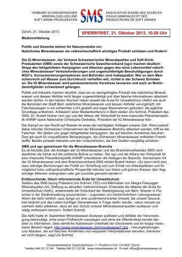 Was ist natürliches Mineralwasser? - Verband Schweizerischer ...