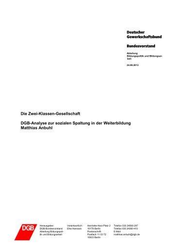DGB-Analyse zur sozialen Spaltung in der Weiterbildung