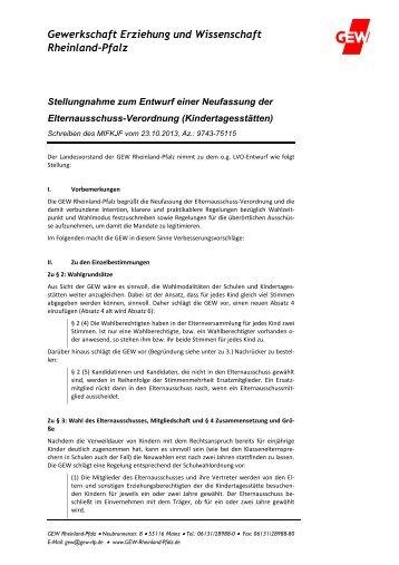 2013_11_13 Neufassung ElternausschussVO_Kitas.pdf - GEW ...