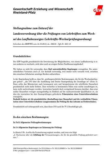 2013-12-04 Wechselpruefungsordnung.pdf - GEW Rheinland-Pfalz