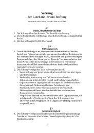 Stiftungssatzung - Giordano Bruno Stiftung