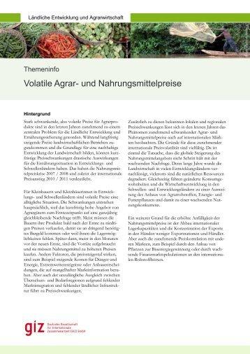 Volatile Agrar- und Nahrungsmittelpreise (pdf, 0.38 MB, DE) - GIZ