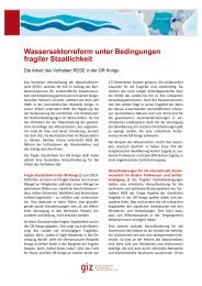 Wassersektorreform unter Bedingungen fragiler Staatlichkeit - GIZ