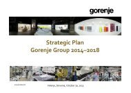Gorenje Strategic Plan 2014-2018 - Gorenje Group