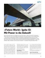 «Future World» Igeho 13: Mit Power in die Zukunft!