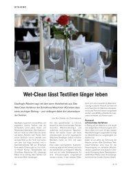 Wet-Clean heisst das Verfahren, dass auch sensible Textilien ...