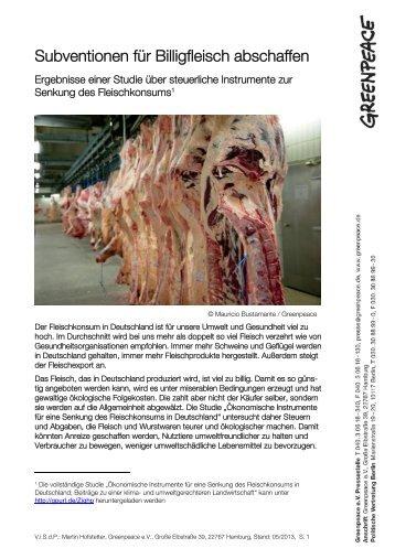 FS Subventionen für Billigfleisch abschaffen - Greenpeace