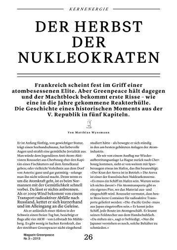 Artikel im lesefreundlichen Magazinformat als PDF ... - Greenpeace